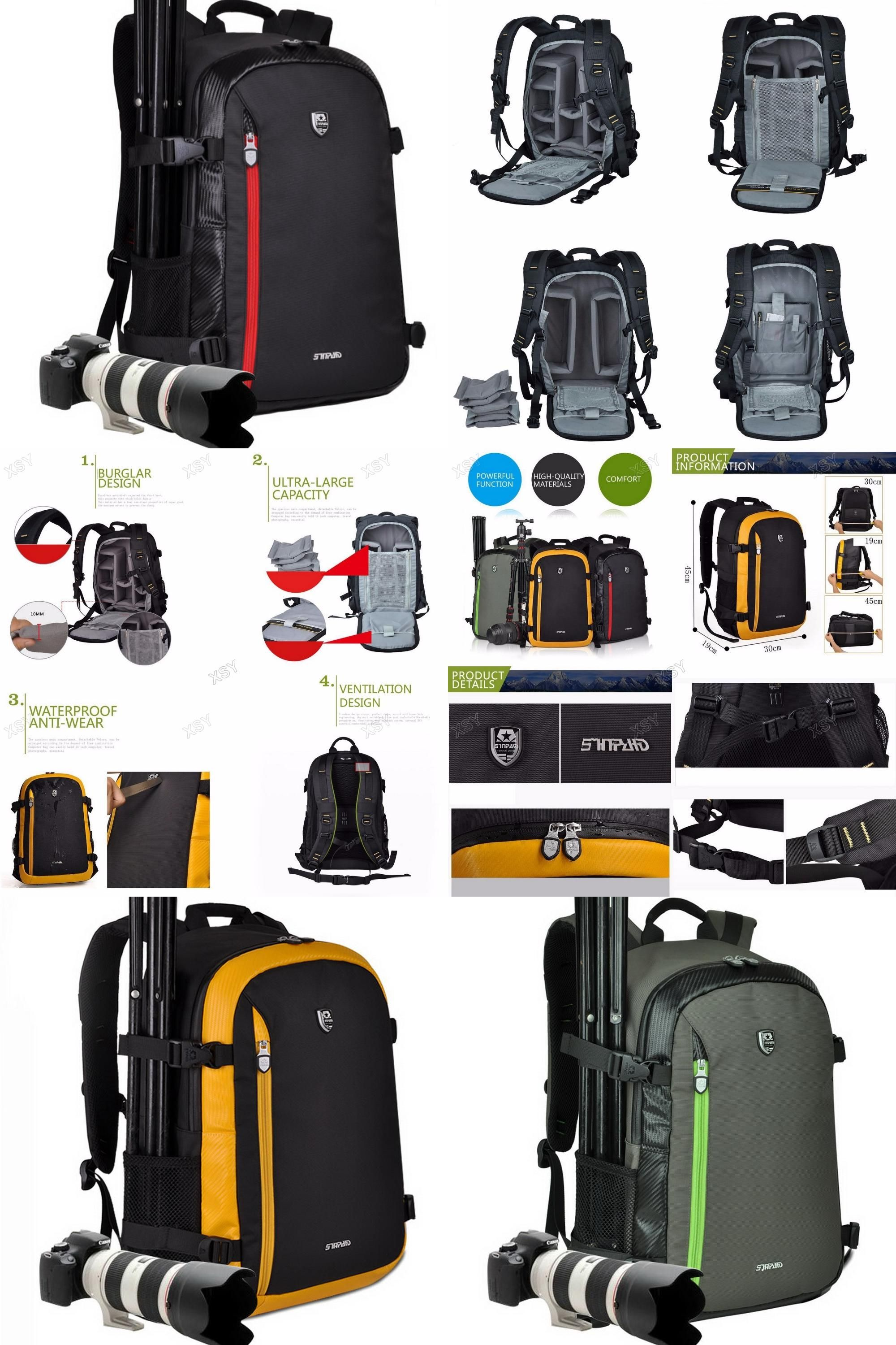 Visit to Buy  SINPAID Multifunctional Camera Backpack Waterproof  Backpacker Bag Large Capacity for Nikon Canon DSLR Black Yellow   Army Green    ... 6333b7968d693
