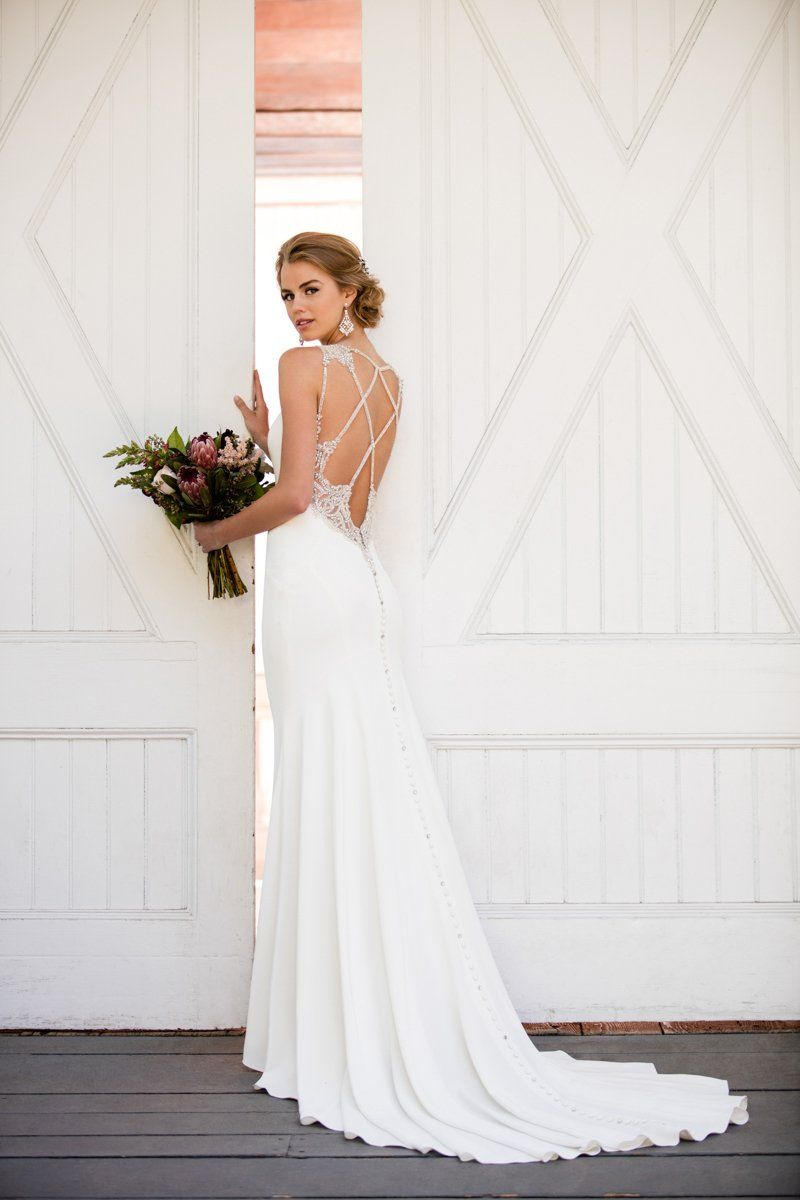 Sheath wedding dress with open, criss-cross back Style 964 by ...