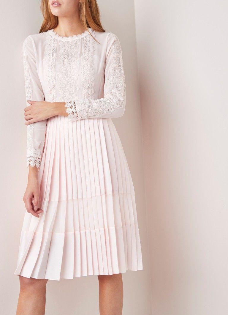 8c11b19cfda Ted Baker Looez A-lijn jurk met plissé en kantdetail • de Bijenkorf ...
