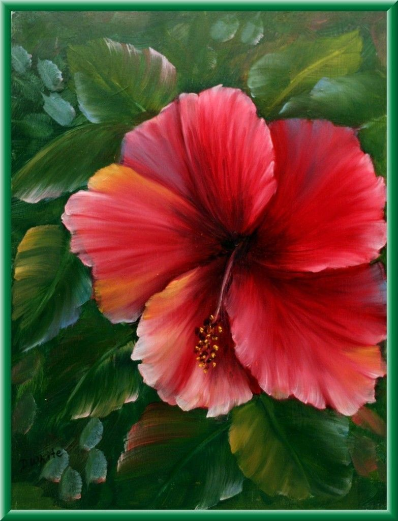 Diana White Hibiscus Floral Art Original Oil Painting Hawaii Chic