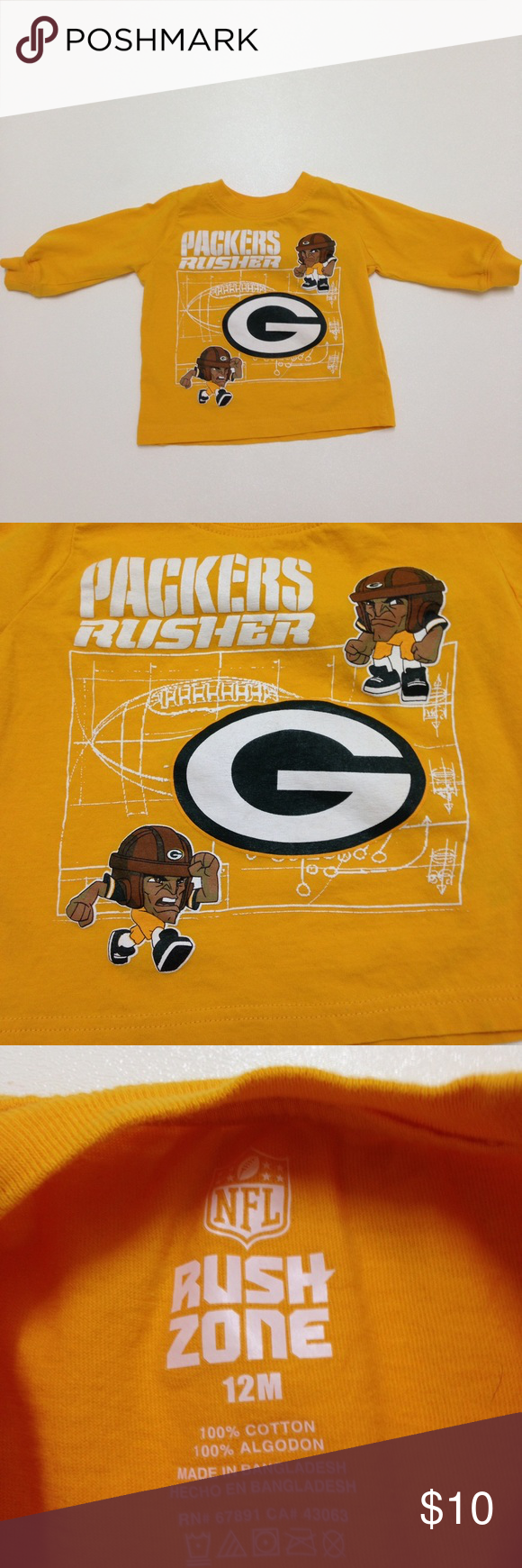 """NFL Green Bay Packers Long Sleeve 12 Months NFL Green Bay Packers Long Sleeve Shirt 12 Months. """"Packers Rusher""""printed. Good Condition. NFL Shirts & Tops Tees - Short Sleeve"""