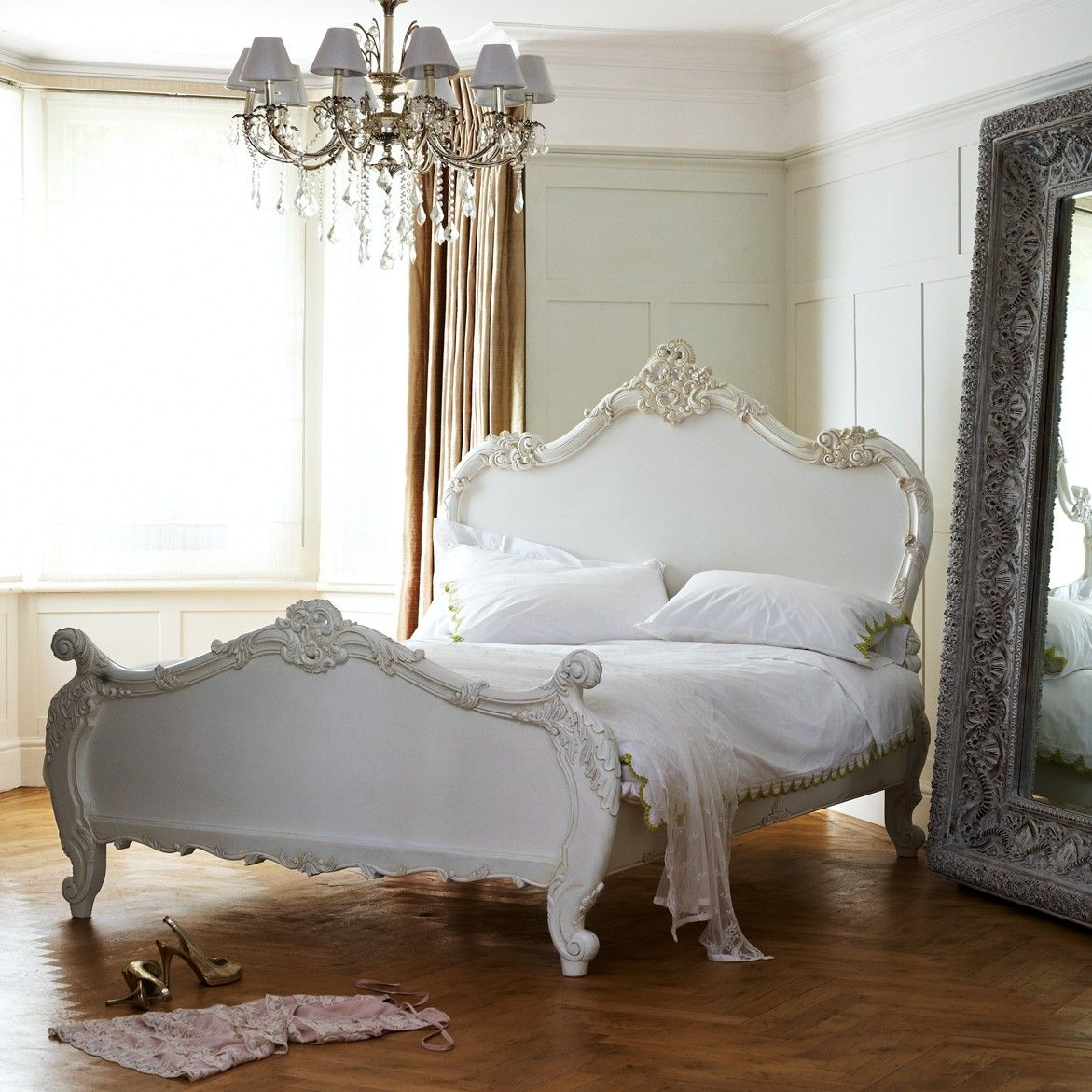 classical white rococo bed sweetpea willow home. Black Bedroom Furniture Sets. Home Design Ideas