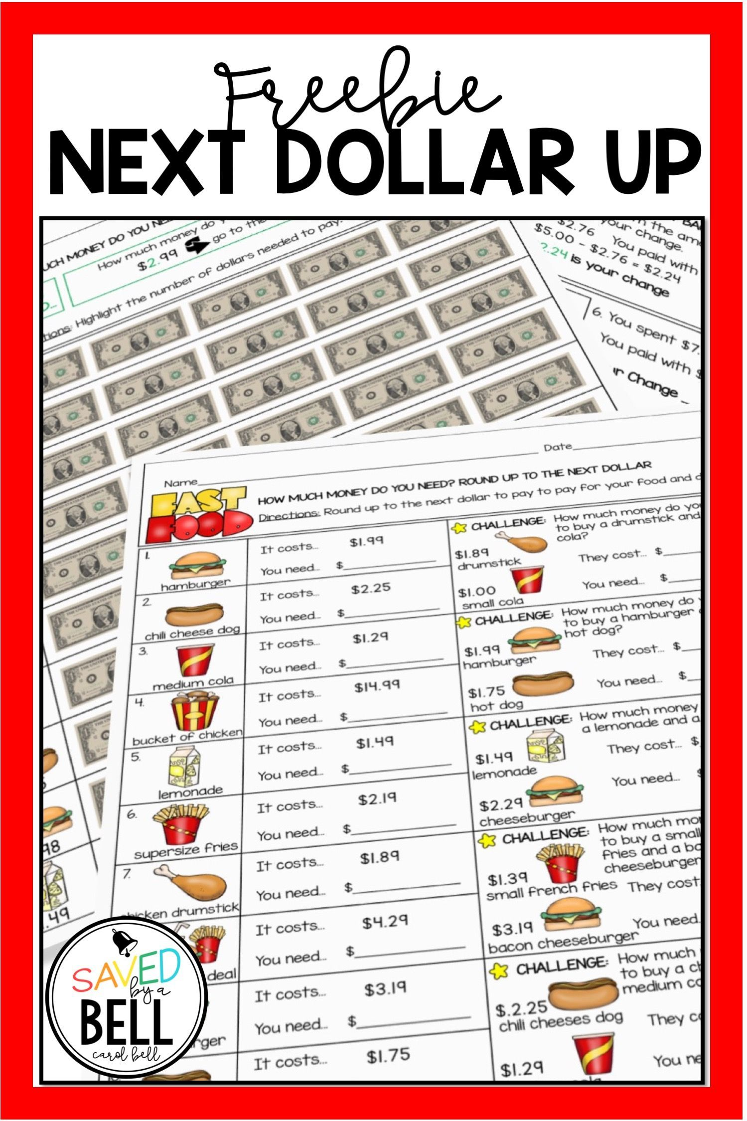 Adding And Subtracting Money Freebie Money Math Worksheets Money Worksheets Money Math