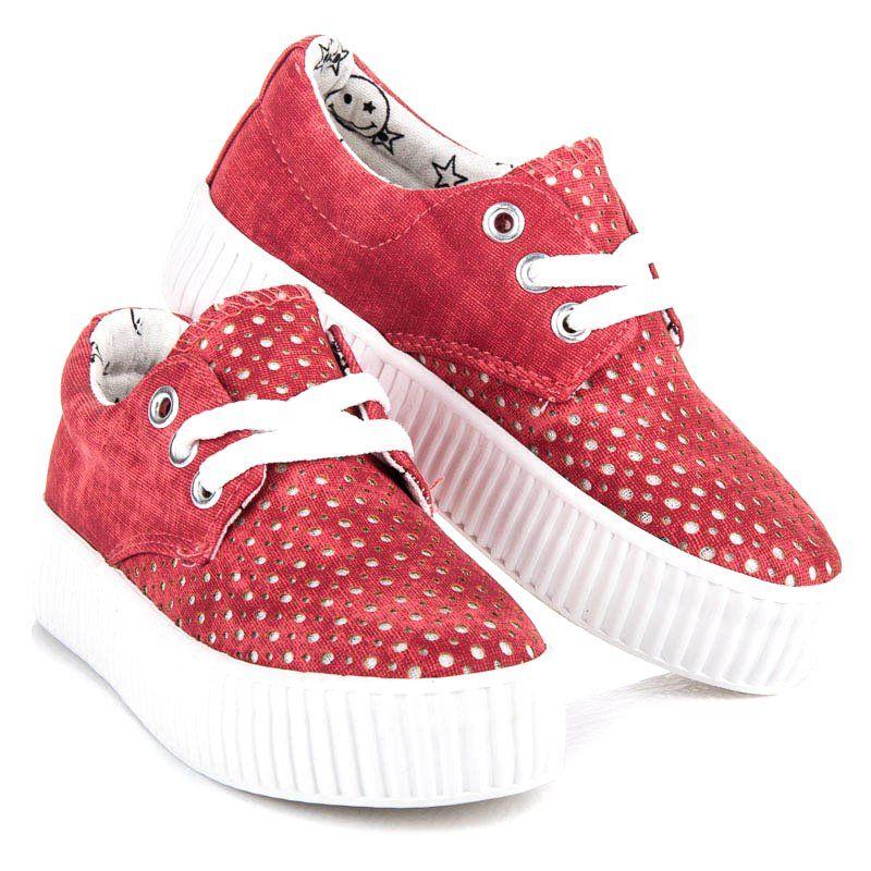 Buty Sportowe Dzieciece Dla Dzieci Kylie Czerwone Wiazane Trampki Na Platformie Kylie Baby Shoes Sneakers Shoes