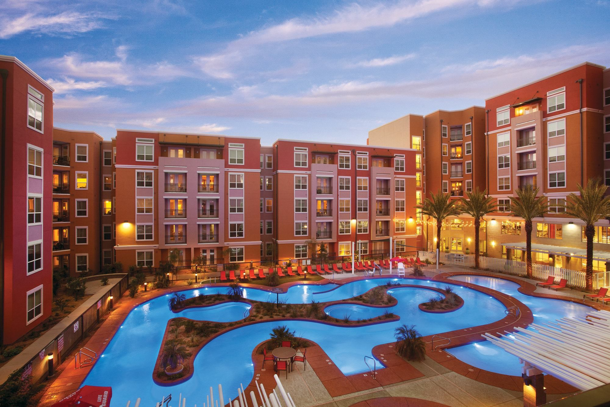 District on apache near arizona state university is close to campus and offers lazy river pool for University of arizona swimming pool