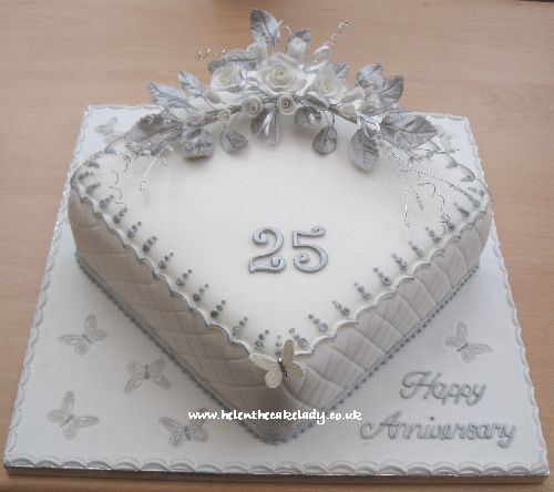 Silver Wedding Anniversary Cake 25th With Images Silver