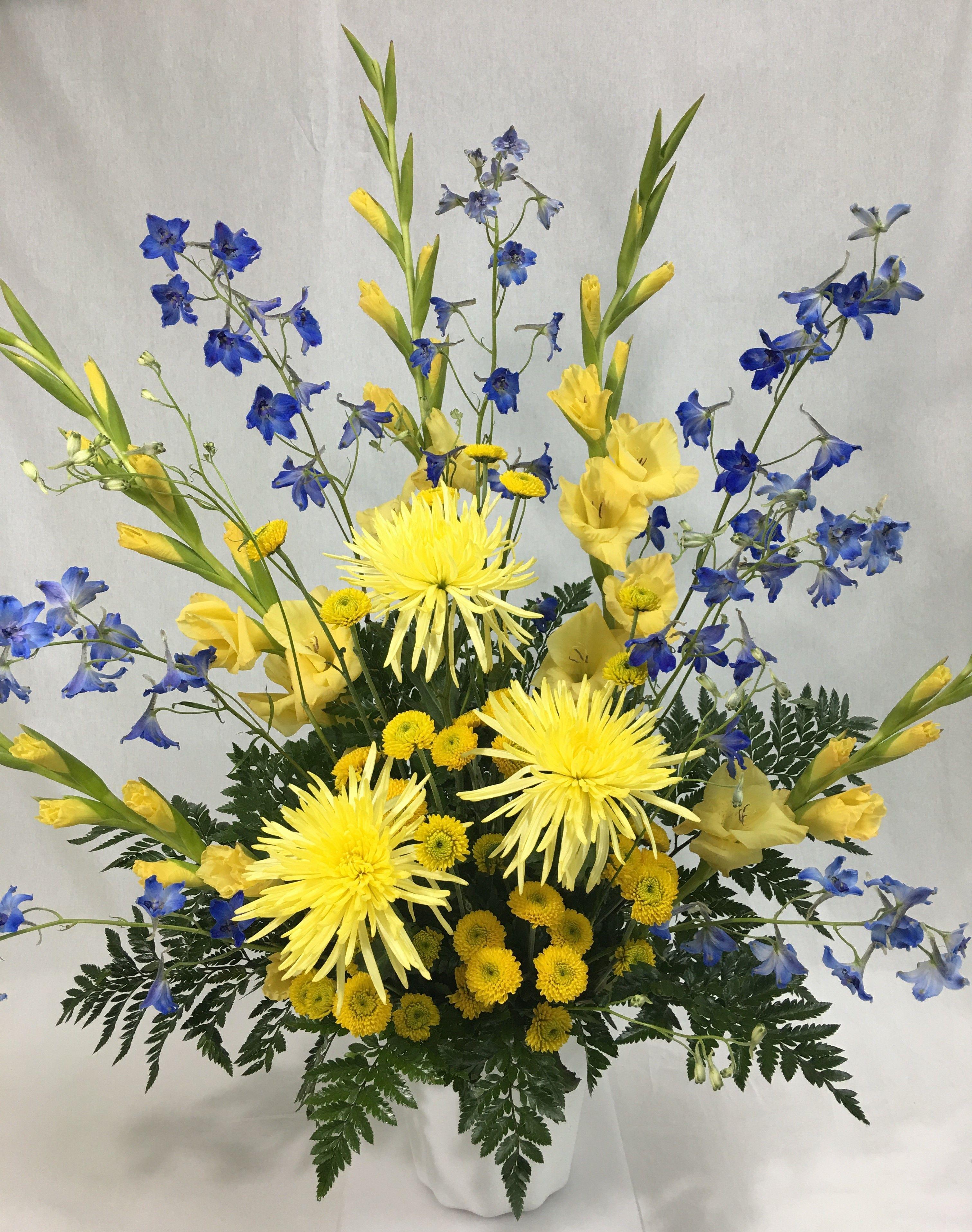 Yellow Gladiolas Blue Delphinium Yellow Spider Mums Yellow Button