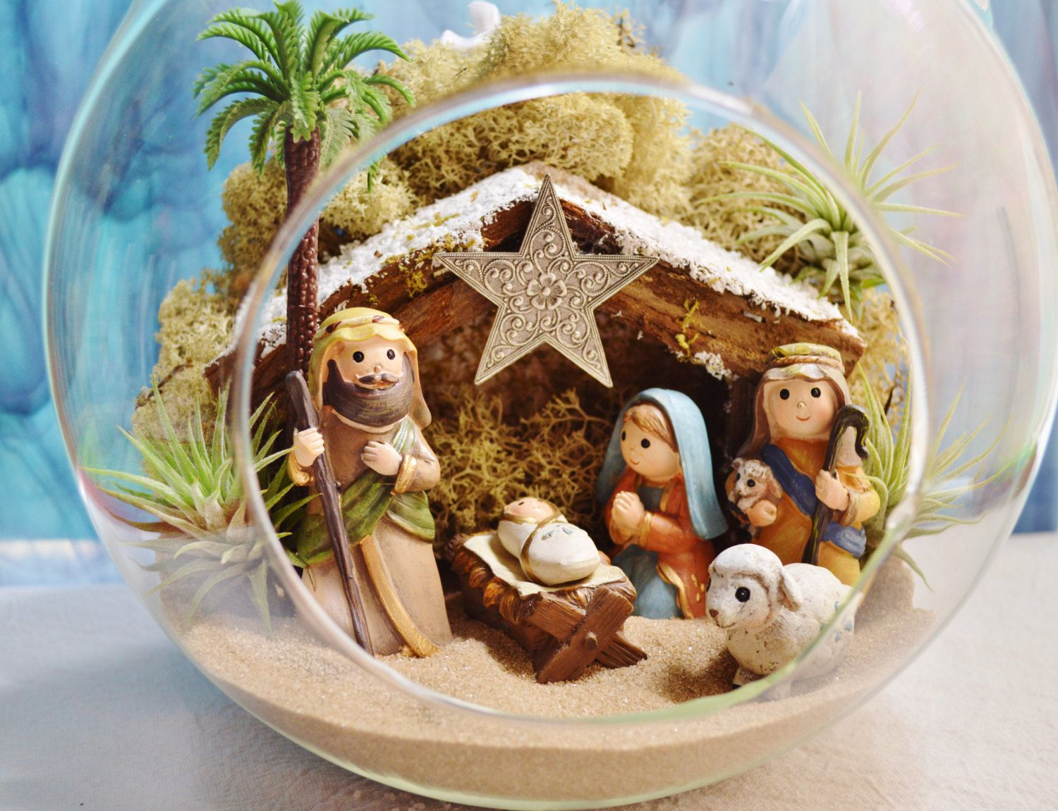"Nativity Terrarium Kit ~ Resin Figures ~ Manger Scene ~ 8"" Terrarium ~ Air Plants ~ Christmas Shipping ~ Limited Edition ~ Christmas Gift by BeachCottageBoutique on Etsy"