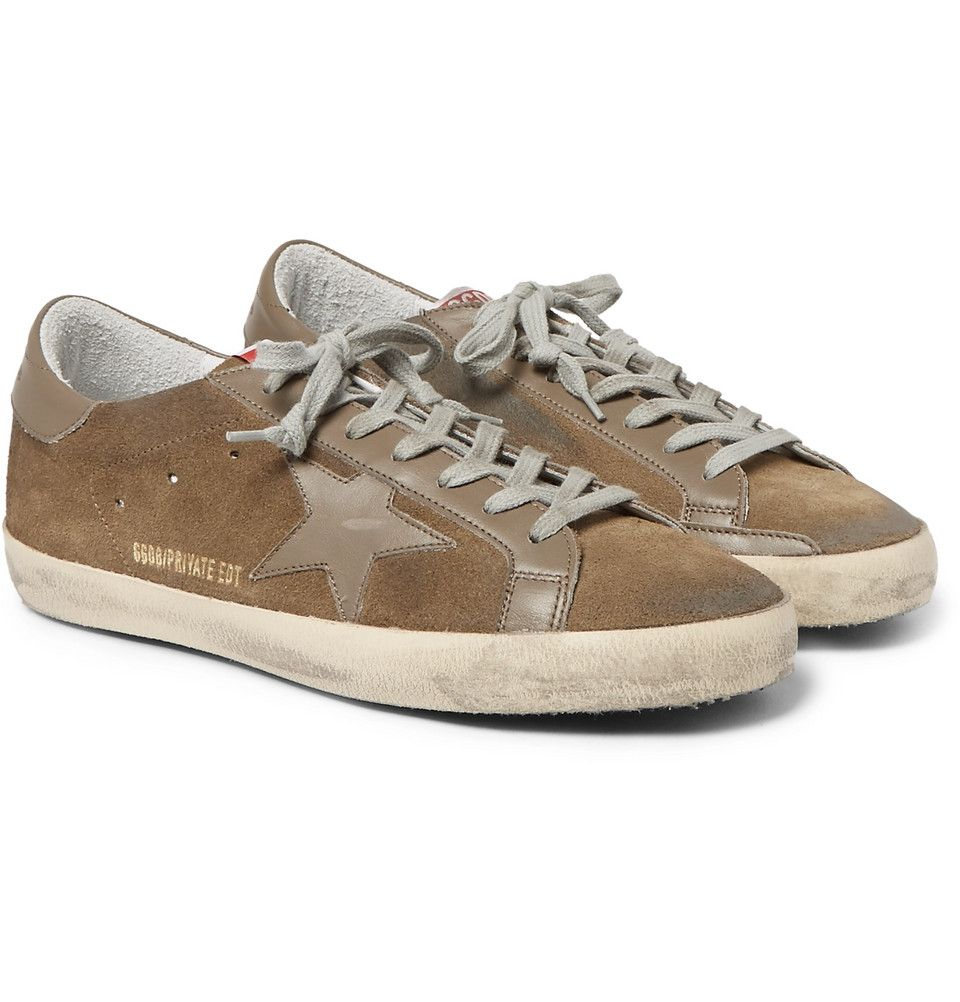 new concept 2146a ee3d4 Golden Goose Deluxe Brand - Superstar Distressed Leather-Trimmed Suede  Sneakers