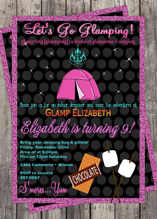 Glamping slumber party invitation diy birthday party for Glamping ideas diy