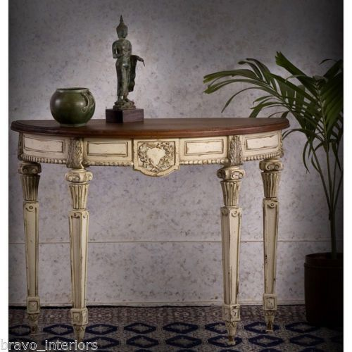 French Country Console Table White Distress Solid Mahogany Half Round New