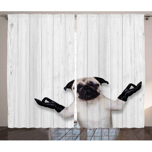Found it at Wayfair - Daigle Animal Spiritual Funny Bulldog with Leather Gloves on Wood Board Funny Cute Image Graphic Print & Text Semi-Sheer Rod Pocket Curtain Panels #funnybulldog