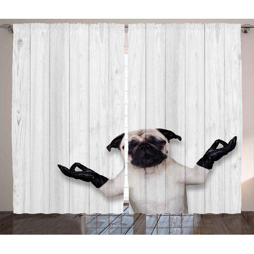 Found it at Wayfair - Daigle Animal Spiritual Funny Bulldog with Leather Gloves on Wood Board Funny Cute Image Graphic Print & Text Semi-Sheer Rod Pocket Curtain Panels #funnybulldog