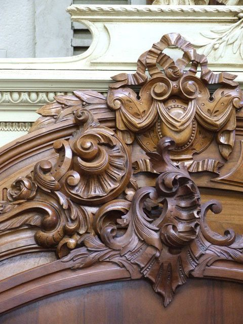 French Rococo Style Antique Hand Carved Wood Headboards Gorgeous
