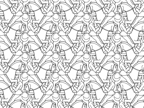Horseman Tessellation by MC Escher