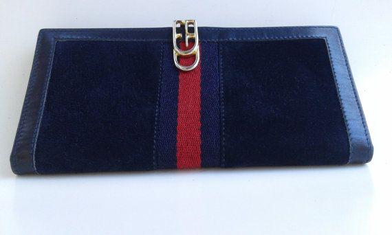 Gucci vintage navy blue suede wallet with original box by ALILALIA