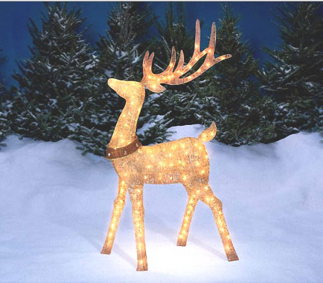 Christmas Light Up Champagne Deer Reindeer 5 Ft Outdoor Christmas Decorations Christmas Yard Christmas Yard Decorations