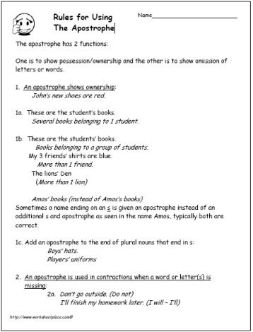 Reading - Apostrophe-Rules, How to use the Apostrophe | student ...