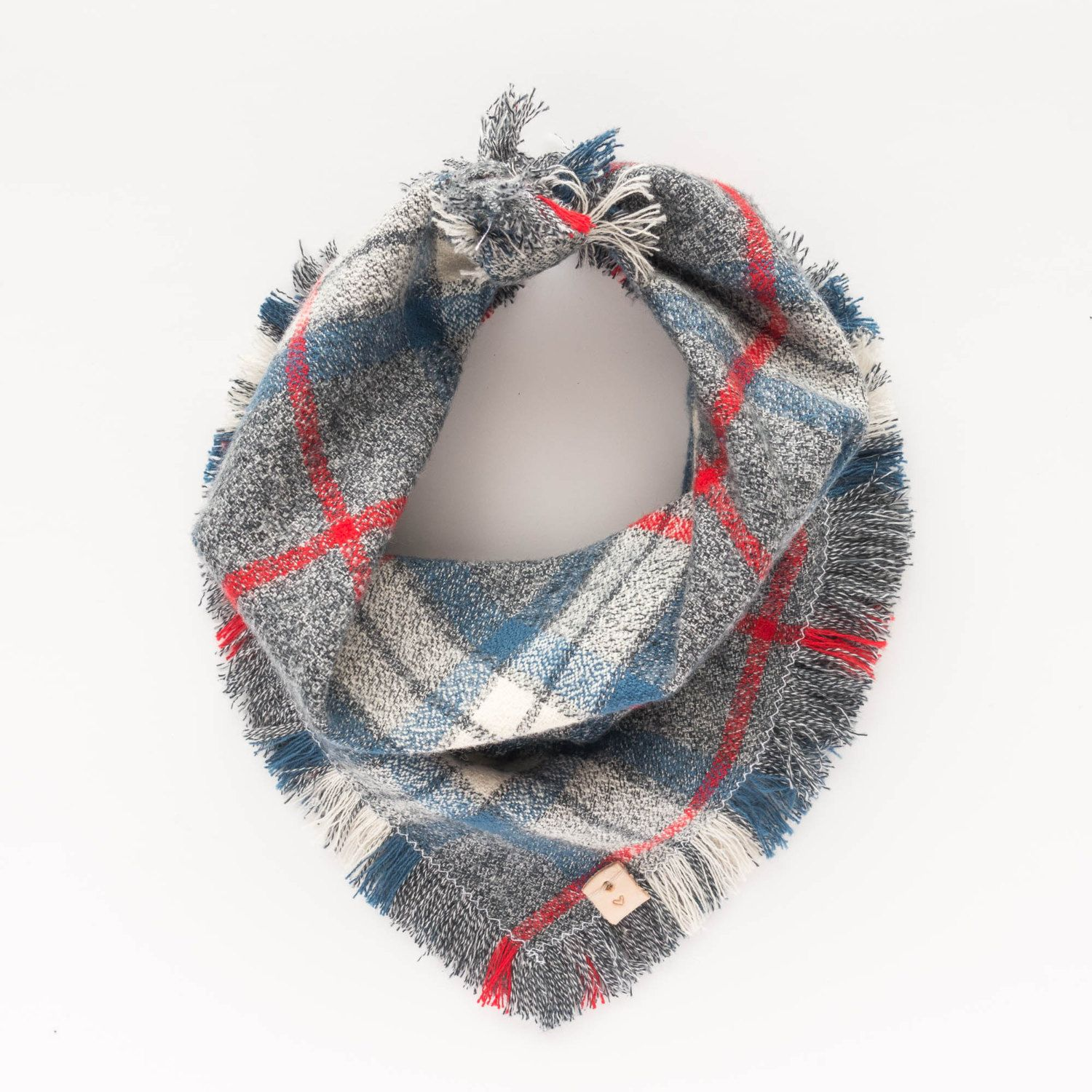 ATLAS. Dog bandana or baby scarf in ivory, red, blue, grey, with fringe trim. Sizes: XS - XL. $32. Click to buy now.