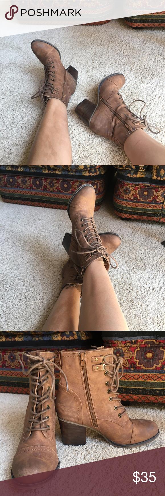 Steve Madden Madden Girl Combat Bootie 'WESTMONT' 7.5 lace up combat Bootie in cognac. Zipper on inside. ~2.5 inch heel. Never worn!!! Steve Madden Shoes Combat & Moto Boots