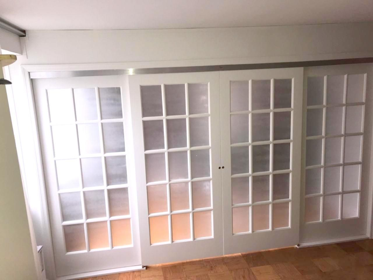 Temporary Sliding French Door Wall Call Us For All Your Custom Room Partition And Storage Wall Inquiries 646 Room Divider Doors Temporary Wall Bookcase Wall