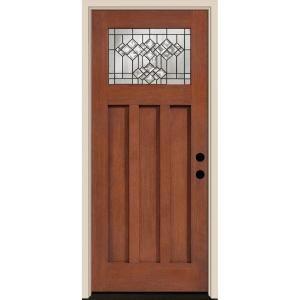 Tru Tech Belmont Craftsman Rosedale Oak Finish Fiberglass Entry Door Hfo3468l At The Home Depot