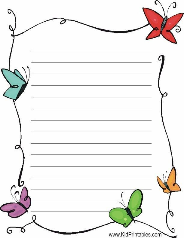 butterflies stationery Printable Lined Writing Paper Pinterest - lined paper printable free