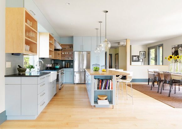 Inspiration For Kitchen   Large Kitchen With Kitchen Island/breakfast Bar  And Long Dining Table