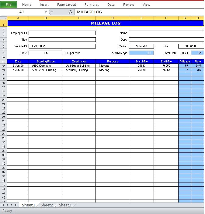 Mileage Log Excel Template  Excel Templates