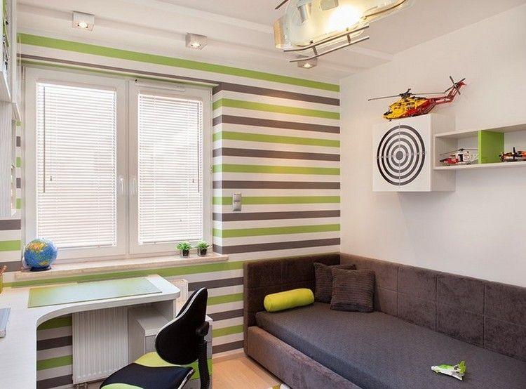 AuBergewohnlich Kinderzimmer Wandgestaltung Ideen Junge Gruene Braune Streifen Horizontal