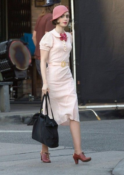 Lily Collins Photos Photos: Lily Collins and Matt Bomer Perform on the Set of 'The Last Tycoon'