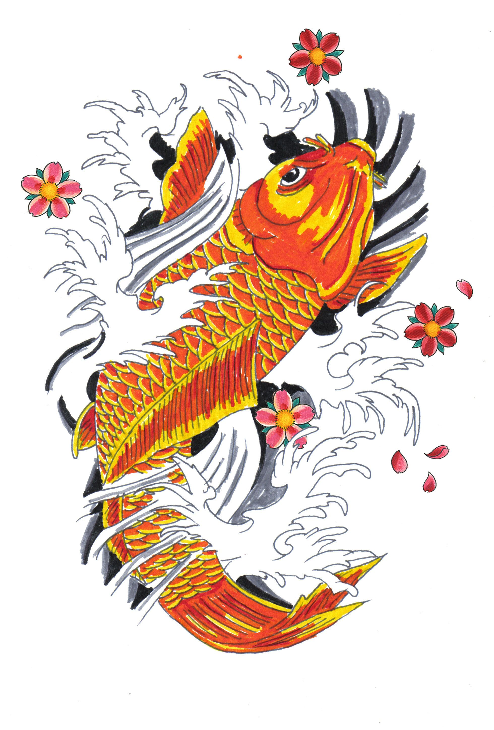 It is an image of Adorable Japanese Koi Fish Drawing