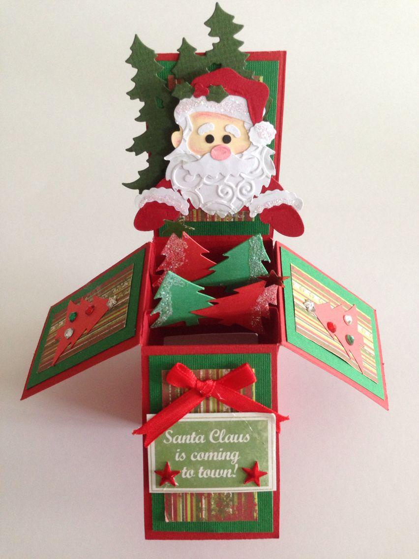 Handmade christmas pop up box card Basteln weihnachten
