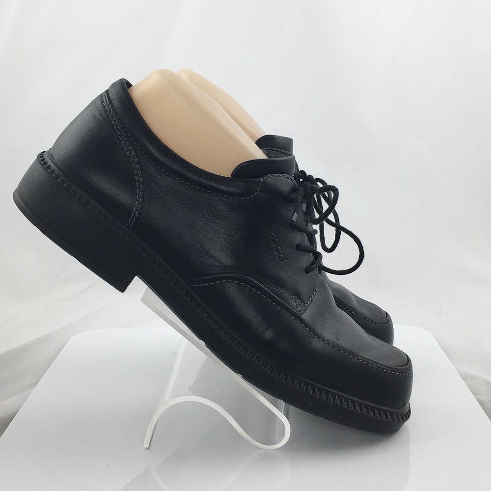 Ecco Light Womens Leather Oxford Tie Lace Up Shoes Size EU 40 US 9/9.5 M  Black