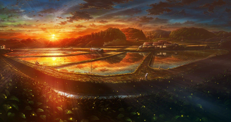 Landscape Anime Sunset Rice Village Wallpaper Anime Scenery Landscape Wallpaper Scenery Wallpaper