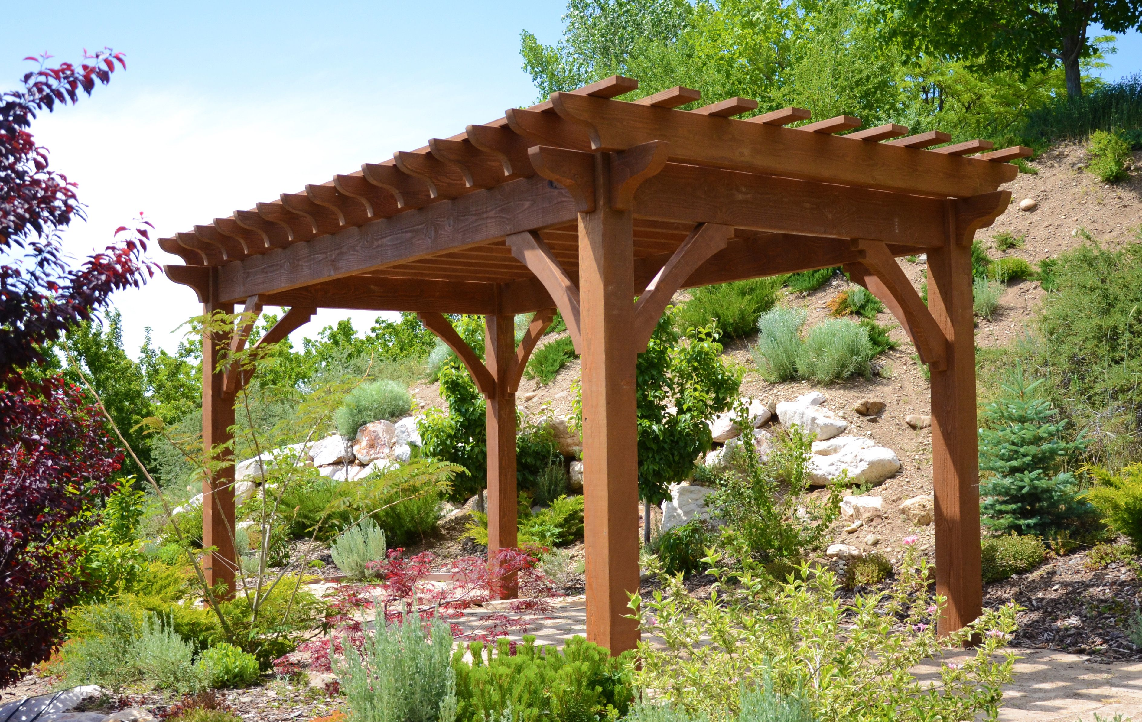 The 4-Beam Free-Standing Pergola Kit is a solidly built kit