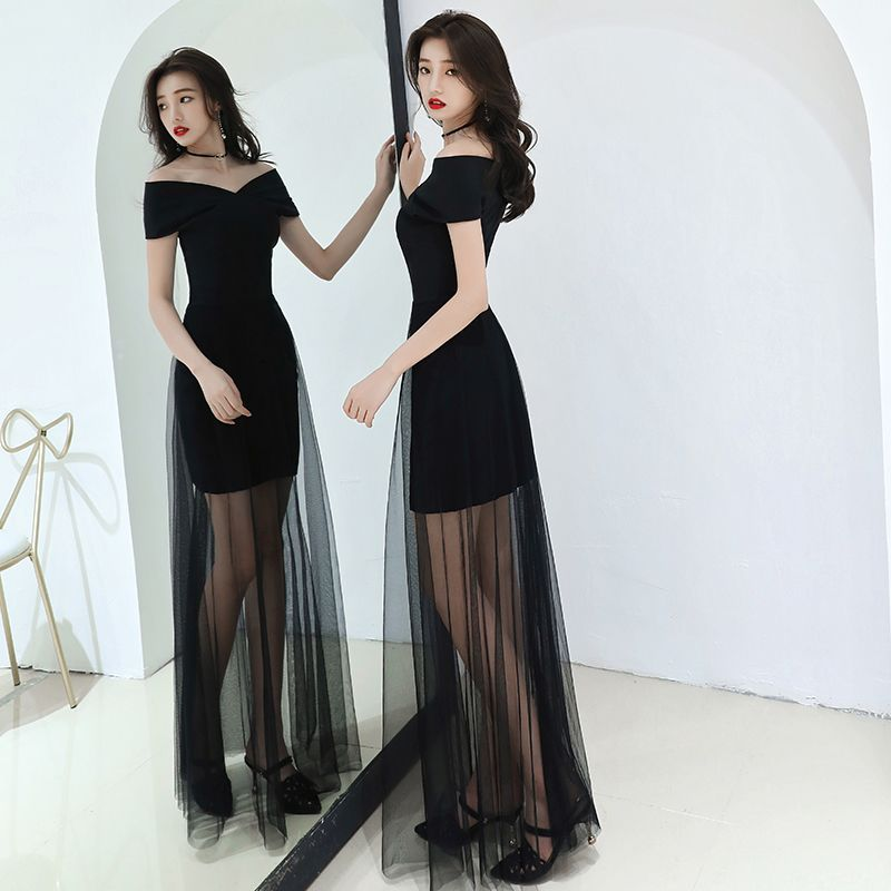 Modest / Simple Affordable Black Summer Evening Dresses 2019 A-Line / Princess Off-The-Shoulder Short Sleeve Floor-Length / Long Backless Formal Dresses
