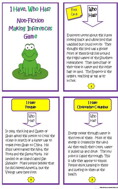Making Inferences is a tricky reading comprehension skill that can be easy and fun with this engaging nonfiction I Have Who Has game! Great for literacy centers, partners, preteach, review and more. Additional blank game card templates are included for extended play as your students research and create their own game cards. $