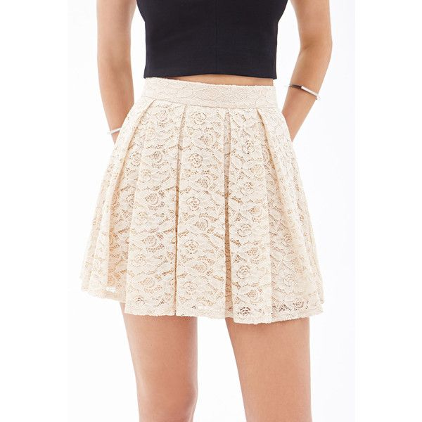 Forever 21 Pleated Lace Skater Skirt ($15) ❤ liked on Polyvore featuring skirts, pink circle skirt, pleated skater skirt, full length skirt, knee length pleated skirt and forever 21 skirts