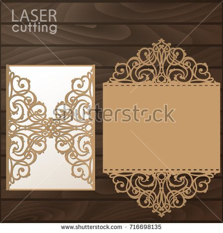 Laser cut wedding invitation card template vector die cut paper laser cut wedding invitation card template vector die cut paper card with lace pattern cutout paper gate fold card for laser cutting or die cutti stopboris Gallery