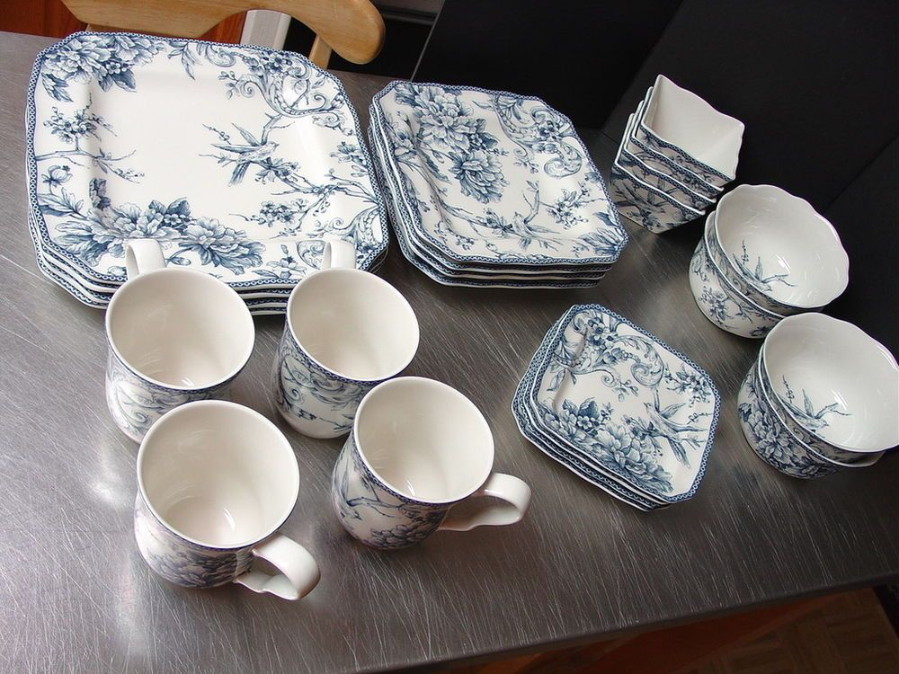24 pc Adelaide Blue Dishes 222 Fifth French Toile Birds Dinnerware Serves 4 & 24 pc Adelaide Blue Dishes 222 Fifth French Toile Birds Dinnerware ...