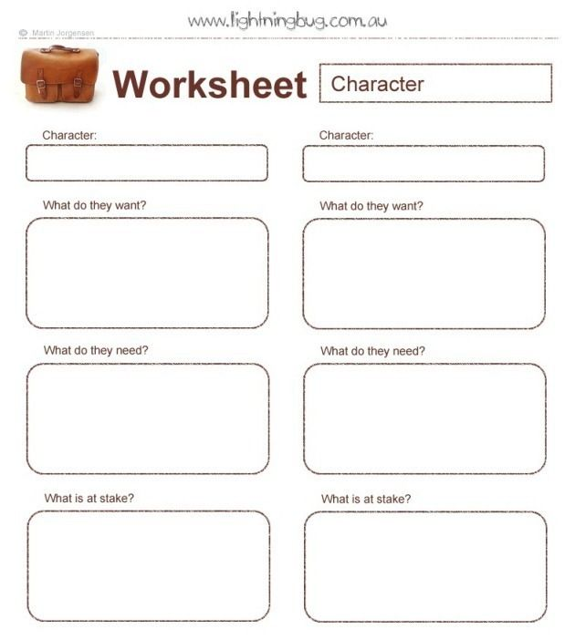 The Two Main Characters - A Writer's Worksheet - Writers Write ...