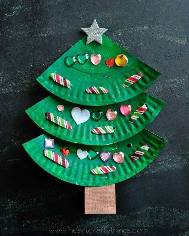 Fun paper plate Christmas tree craft for