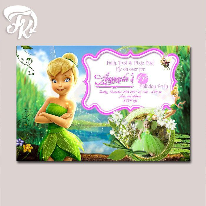 Tinkerbell birthday party card digital invitation with photo kid tinkerbell birthday party card digital invitation with photo kid birthday party bookmarktalkfo Images