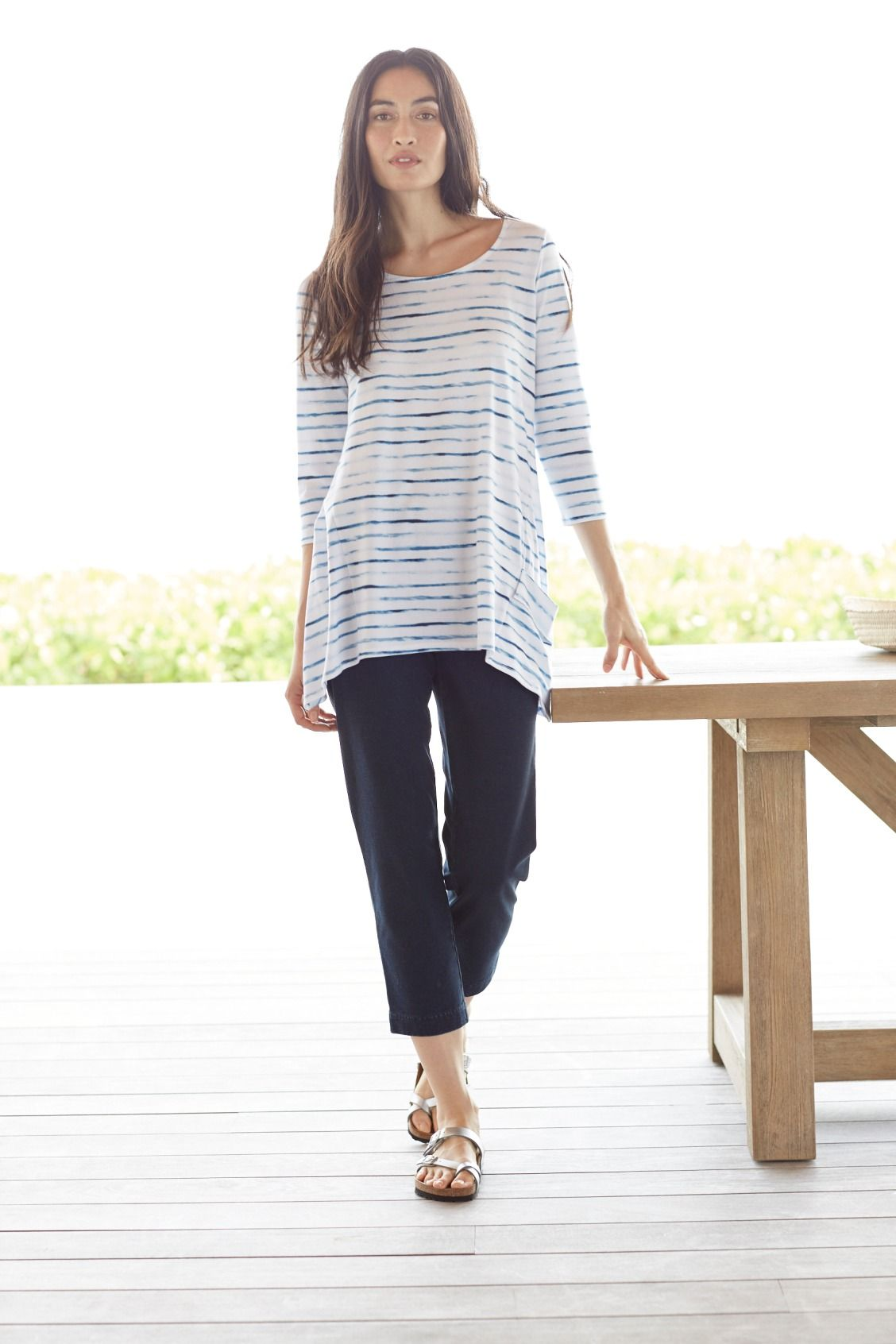 091b9d40c1f8 Soft stripes for easy days (featuring J.Jill's Pure Jill Draped-Pocket Top)