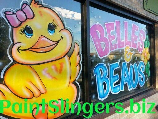 Easter Window Painting Bunny Butterfly Tulips Chick And Eggs Facebook Paintslingersbiz PaintSlingersbiz