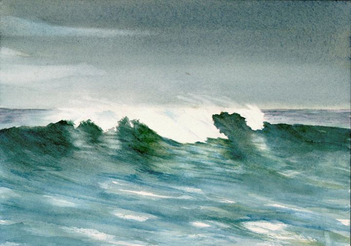 Seascape Watercolor By Douglas Winslow Watercolor Ocean Ocean