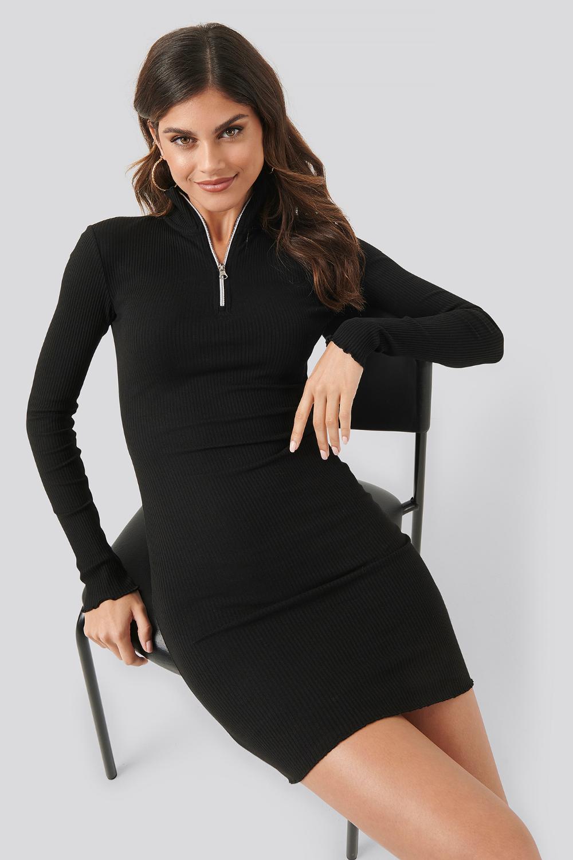 24++ Black ribbed dress information