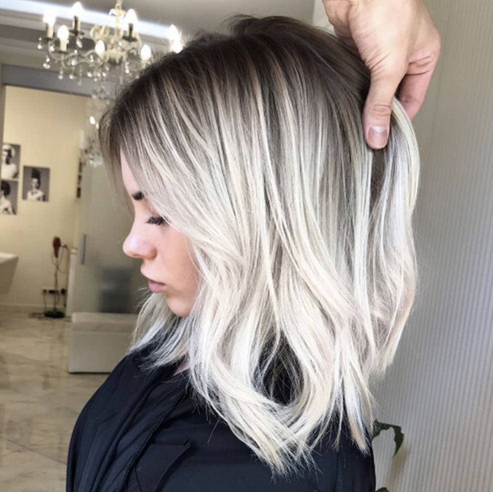 Smudged Root Blonde Platinum Blonde Hair Short Hair Balayage Hair Highlights