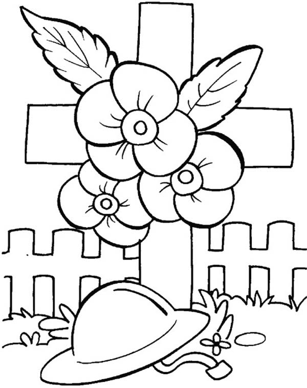 Remembrance Day Poppies And Soldier Helmet Coloring Pages